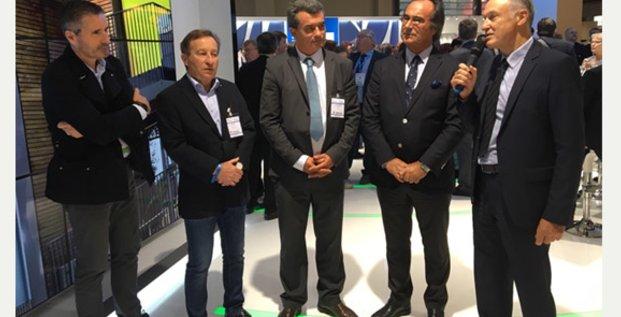 G. D'Etorre (Hérault Méditerranée) et F. Commeinhes (Thau Agglo) annoncent un partenariat opérationnel sur le projet Héliopole