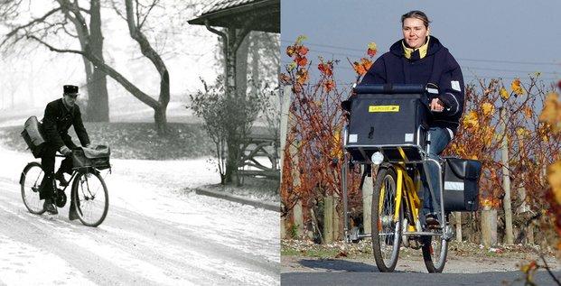 NE PAS REUTILISER-Vélo, autrefois, aujourd'hui, composite, La Poste, facteur, factrice,