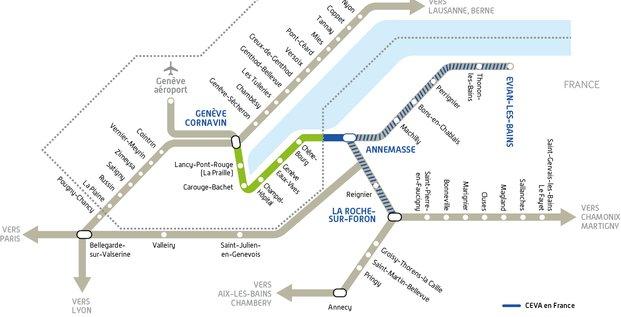 Plan du futur CEVA, qui relie Genève et Annemasse