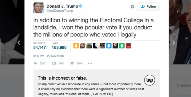 Le plugin du Washington Post pour vérifier les Tweets de Trump