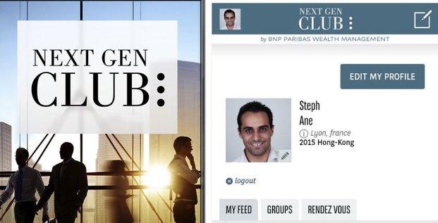 BNP banque privée appli Next gen Club