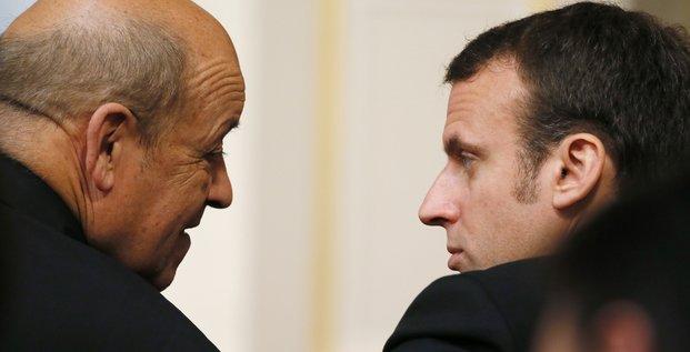 Le Drian, Macron,