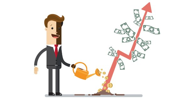 Illustration concept investissement croissance courbe