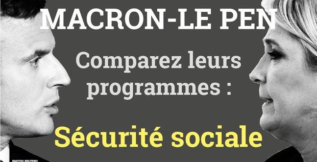 Sécurité sociale, Macron, Le Pen, programmes comparaison, présidentielle 2017, 2e tour, France,
