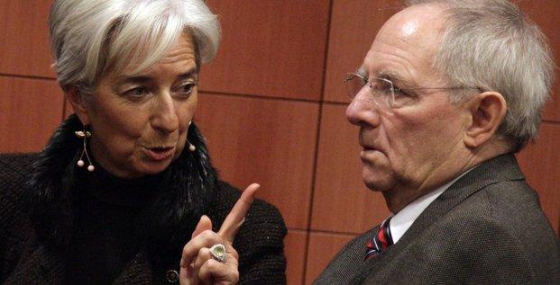 Christine Lagarde, directrice du FMI, et Wolfgang Schäuble, ministre allemand des finances