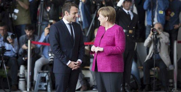 Angela Merkel et Emmanuel Macron, le 15 mai, à Berlin
