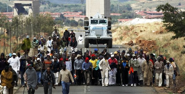AngloGold Ashanti mineurs manifestation Afrique du Sud