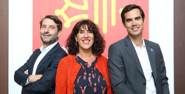 De gauche à droite: Jean-Christophe Tortora (président de La Tribune), Marie-Claire Uchan (maire de Saint-Bertrand-de-Comminges) et Nicolas Hazard fondateur du Comptoir de l'Innovation INCO