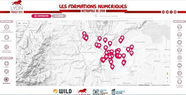 cartographie formations numériques Lyon French Tech