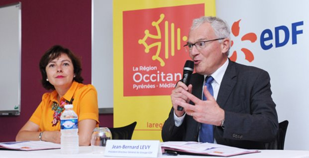 C. Delga, présidente de Région, et J.-B. Lévy, P-dg d'EDF, présentent les axes du nouvel accord, le 19 juillet à Colombiers