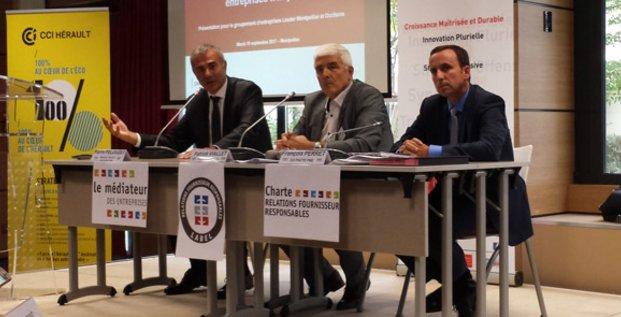 Pierre Pelouzet (Médiateur des entreprises), Patrick Viallet (président de LeadeR Montpellier), et François Perret (DG de Pacte PME)