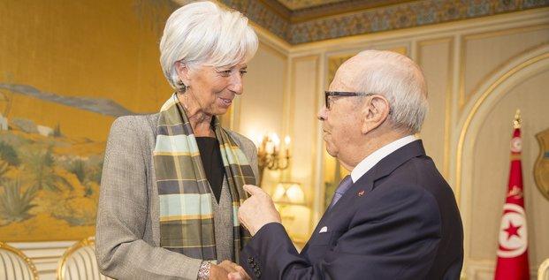 Lagarde Essebsi Tunisie FMI Tunis