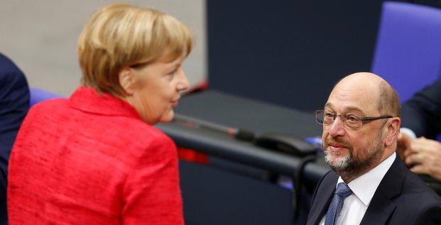 Merkel et schulz recus ensemble par steinmeier la semaine prochaine