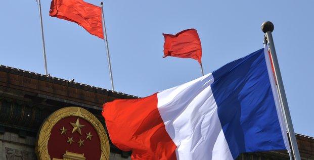France, Chine, drapeaux, flag,
