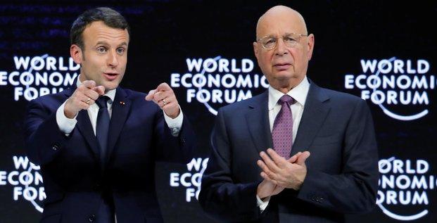 Emmanuel Macron, Klaus Schwab, Davos 2018, World Economic Forum (WEF)
