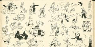 Pages de garde bleu foncé de Tintin