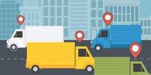 Logistique, carbone, camion, géolocalisation, ville, circulation,