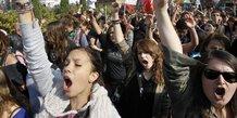 Manifestants lycéens contre la réforme des retraites, le 12 ocotbre 2010