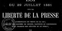 négatif, couv, texte de la Loi du 29 juillet 1881, liberté de la presse, France