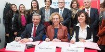 Le préfet de l'Occitanie Etienne Guyot, la ministre du Travail Muriel Pénicaud, et la présidente de Région Carole Delga, pour la signature du PIC à Perpignan
