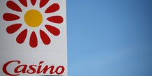 A logo of french retailer casino is pictured outside a casino supermarket in nantes