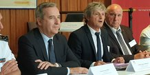 Denis Robin (à gauche), aux côtés de Didier Codorniou (Parlement de la Mer), et d'André Lubrano (Cépralmar)