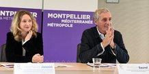 S. Jannin et P. Saurel, vice-présidente et président de la Métropole, dévoile les grandes orientations du prochain Plan Climat