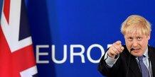 Boris Johnson, premier ministre britannique, lors du sommet des leaders de l'Union européenne, le 17 octobre 2019 à Bruxelles