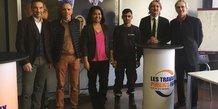 Olivier Giorgiucci (FRPT), Frédéric Wilms (Eurovia), Sarah Sanchez (GEIQ Hérault), un bénéficiaire du programme Hope, Laurent Cueille (AFPA Nîmes) et Philippe Blachère (Pôle Emploi)