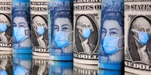 Illustration économie malade coronavirus, Covid-19, argent, billets, masques, dollars, livres