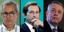 Jean-Pierre Clamadieu, président d'Engie (à g.), Bertrand Camus, directeur général de Suez (au centre) et Antoine Frérot, PDG de Veolia