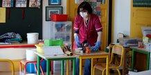 Coronavirus : personnel de l'école nettoie des fournitures scolaires dans une classe d'école primaire à Paris
