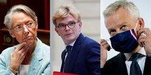 Collage photos : Elisabeth Borne, ministre du Travail, Marc Fesneaux, ministre Relations avec le Parlement, Bruno Le Maire, ministre de l'économie et des Finances