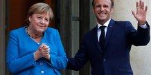 Macron et merkel promettent de cooperer jusqu'a la formation du prochain gouvernement allemand