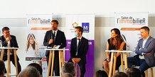Le maire de Montpellier Michael Delafosse inaugure le salon de l'immobilier le 24 septembre 2021