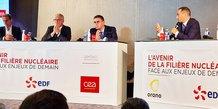 Philippe Knoche (Orano), Jean-Bernard Levy (EDF) et François Jacq (CEA), le 8 octobre 2021 au CEA Marcoule
