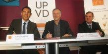 Fabrice Lorente, président de l'Université de Perpignan Via Domitia, Luc L'Hostis, directeur Collectivités, Territoires et Solidarité Méditerranée d'EDF et Jean-Christophe Baroin, directeur développement territorial Pyrénées-Orientales d'EDF.