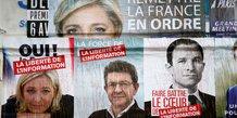 Hamon, Le Pen, Mélenchon, affiches électorales, présidentielle 2017,