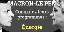 Energie, Macron, Le Pen, programmes comparaison, présidentielle 2017, 2e tour, France,