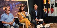 Thierry Mazars (délégué Miss France pour la région LR), Aurore Kichenin (1ère dauphine Miss France) et Philippe Saurel (maire de Montpellier, président de M3M)