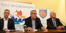 Conférence de presse de la Ville de Carcassonne le 20 septembre 2017, sur la zone d'activité Rocadest : Laurent Boissonnade (Leclerc Carcassonne, Lucien Ferrandis (Sofilit) et Gérard Larrat (maire de Carcassonne)
