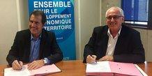 André Deljarry, président de la CCI 34, et Gilles Roche, président de Mélies Business Angels
