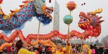 Chine, danse du dragon, fête, Mianyang, Sichuan,